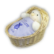 Personalised Baby Gift Set in Wicker Crib - Blue
