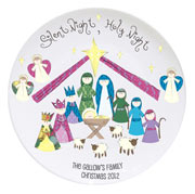 Personalised Silent Night Nativity Keepsake Plate