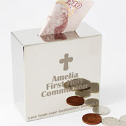 Engraved Square Communion Money Box