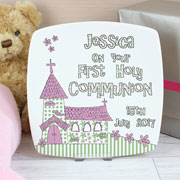 Church Personalised First Holy Communion Plate - Pink/Blue