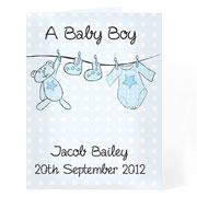 Baby Boy Personalised Washing Line Card Free Delivery