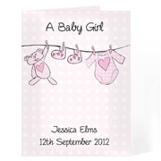 Baby Girl Personalised Washing Line Card