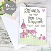 Whimsical Church Personalised Communion Card - Free Delivery