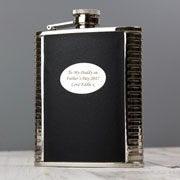 Steel and Black Leather Engraved Hipflask in a Box