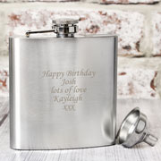 Boxed Engraved Stainless Steel Hipflask