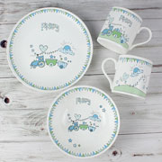Whimsical Train Bunting Personalised Breakfast Set