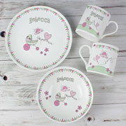 Whimsical Pram Bunting Personalised Breakfast Set