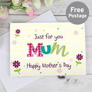 Patchwork Flowers Personalised Card Free Delivery