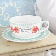 Personalised Vintage Rose Teacup and Saucer - Mummy/Grandma