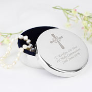 Personalised Engraved Silver Cross Rosary Bead Trinket Box
