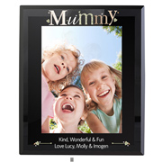 Personalised Mummy Black Glass Frame (5x7 Inch)