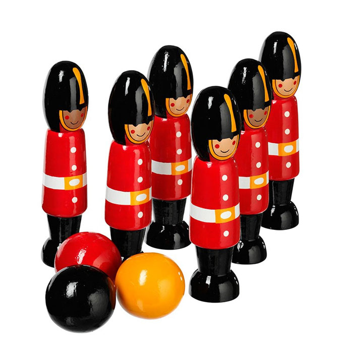 Fair Trade Wooden Guardsmen Soldier Skittles by Lanka Kade