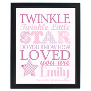 Twinkle Twinkle Girls Personalised Baby Gift Poster Frame