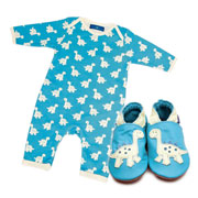 Inch Blue Dinosaur Baby Grow & Shoe Gift Set