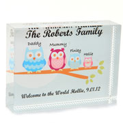 Personalised Owl Family Crystal Block