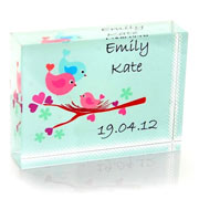 Personalised Baby Bird Crystal Block