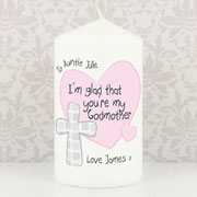 Personalised Godmother Candle With Cross