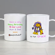 Girl's Personalised Drop Proof Animal Alphabet Mug