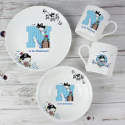 Personalised Pirate Letter Boy's China Breakfast Set