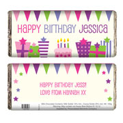 Pink Birthday Presents Chocolate Bar - Free Delivery