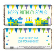 Blue Birthday Presents Chocolate Bar - Free Delivery