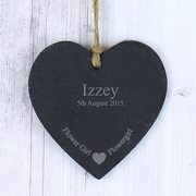 Personalised Flower Girl Slate Heart Decoration