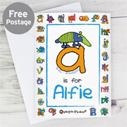 Personalised Bang On The Door Animal Alphabet Boy's Card
