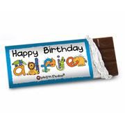 Personalised Animal Alphabet Boy's Chocolate Bar - Free Del