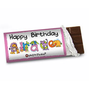 Personalised Animal Alphabet Girls Chocolate Bar