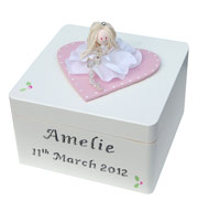 Girl's Personalised Wooden Christening Trinket Box