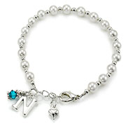 Silver Plated Initial Pearls and Birthstone Bracelet
