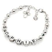 Personalised Pewter and Pearls Child's Name Bracelet