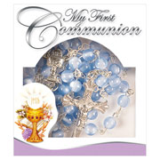 First Communion Blue Glass Rosary