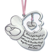 Girl's Guardian Angel Pewter Crib Medal