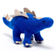 Knitted Electric Blue Stegosaurus Baby Rattle