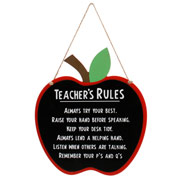Teacher's Rules Hanging Plaque