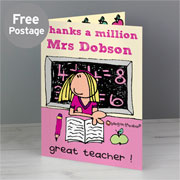 Bang On The Door Female Teacher Personalised Card