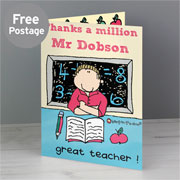 Bang On The Door Male Teacher Personalised Card - Free Del