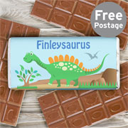 Personalised Dinosaur Chocolate Bar - Free Delivery
