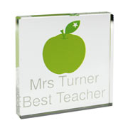 Personalised Apple Crystal Teacher Token Small