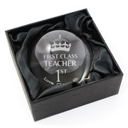 Personalised 1st Class Teacher Dome Paperweight