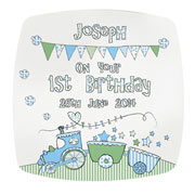 Whimsical Train Personalised 1st Birthday Plate