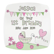 Whimsical Pram Personalised 1st Birthday Plate