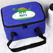 Boy's Personalised Blue Dinosaur School Sanwich Lunch Bag