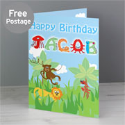 Personalised Boys Animal Alphabet Birthday Card