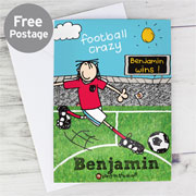 Personalised Football Crazy Card - Free Delivery