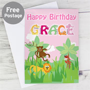 Personalised Girl's Animal Alphabet Card - Free Delivery