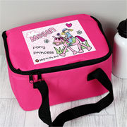 Girl's Personalised Pink Pony Princess Insulated Lunch Bag