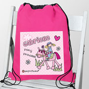 Personalised Pony Princess Swim Bag PE Bag Kit Bag