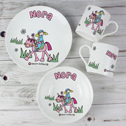 Girl's Personalised Pony Princess China Breakfast Set